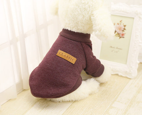 Classic Dog Clothes Warm Puppy Outfit Pet Jacket Coat Winter Dog Clothes Soft Sweater Clothing For Small Dogs Chihuahua 25S1
