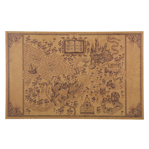 1 pcs Map of The Wizarding World of Ha - Pot Poster Movie 51*33cm Classic Poster Vintage Retro Paper Craft Wall Stickers