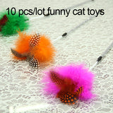10pcs/lot Natural Environment Fantastic Feathers Pet Cats Teaser Playing Feather Cat Toys Teasing Sticks Kitten Funny Jumping
