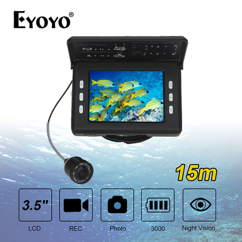 "EYOYO F7 8PCS Infrared LED 3.5"" 640*272 LCD 15m Waterproof Fishing Camera Video Fish Finder DVR Recorder With 3000mAh Battery"