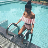 BXXNXX Solid color Off Shoulder high waist  Bikini Set Push Up Falbala bandeau swimwear swimsuit women  bathing suits