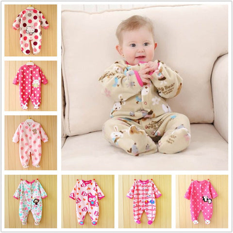 0-12M Autumn Fleece Baby Rompers Cute Pink Baby Girl Boy Clothing Infant Baby Girl Clothes Jumpsuits Footed Coverall V20C