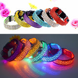 3 Mode Lighting Leopard LED Dog Collar Flashing Nylon Safety Pet Collar Luminous Pets Accessories  New