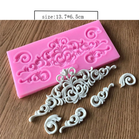 Silicone Cake Mold Flower Lace  Pattern Border Decor Retro Lace Roma Relief Fondant Cake Mold Mould Kitchen Baking Tool