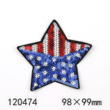 1PCS Colorful  Star Patch Cloth Embroidered Appliques Sew On Patches Clothes Sequins Jeans Garment Dress Accessories DIY