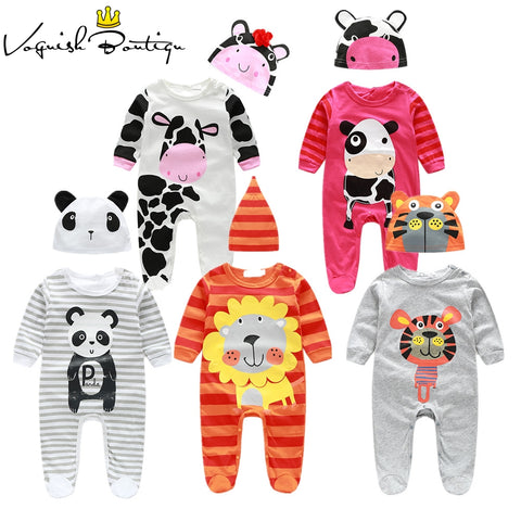 (animal baby boy clothes) baby clothes romper cow/ panda/lion/ tiger long-sleeved romper with cute hat