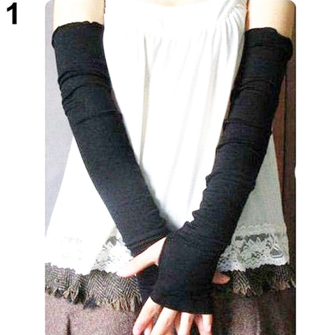 Hot Sale  Women's Cotton UV Protection Arm Warmer Long Fingerless Long Gloves Sleeves Retail/Wholesale  4VSO
