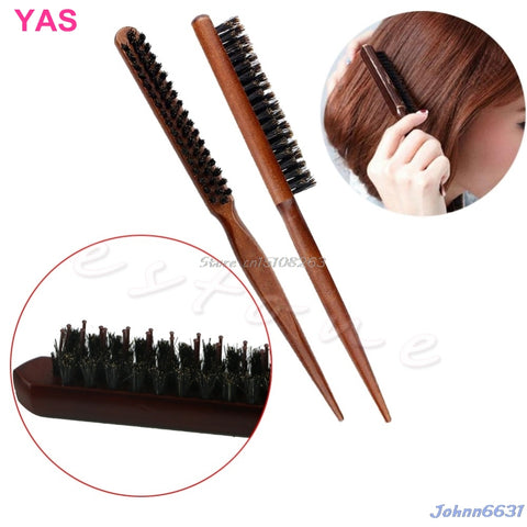 New Salon Comb Hair Teasing Brush Wooden Handle Back Comb Natural Boar Bristle #Y207E# Hot Sale