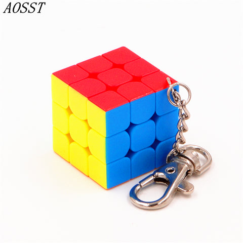 (AOSST)3x3x3 Fluorescent six colors Mini Cube Professional Key buckle Cubo Puzzle Speed Twist learning & Eeducation Toys gift