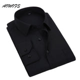 AOWOFS Social Shirt Black Mens Dress Shirts Long Sleeve Office Work Shirts Big Size Mens Clothing 8XL 5XL 7XL 6XL Custom Wedding
