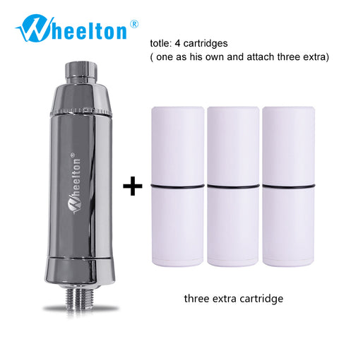 Wheelton SPA Bathing Remove Chlorine Water Filter Purifier Shower Filtration Soft Water Attach Extra 3 Cartridges