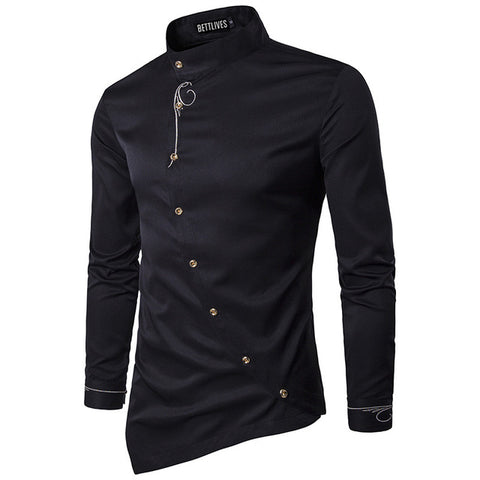 Brand Designer Men Shirts Buckle Irregular High-end Male Social Dress Shirt Casual Long Sleeve Chemise Homme Camisas B3680