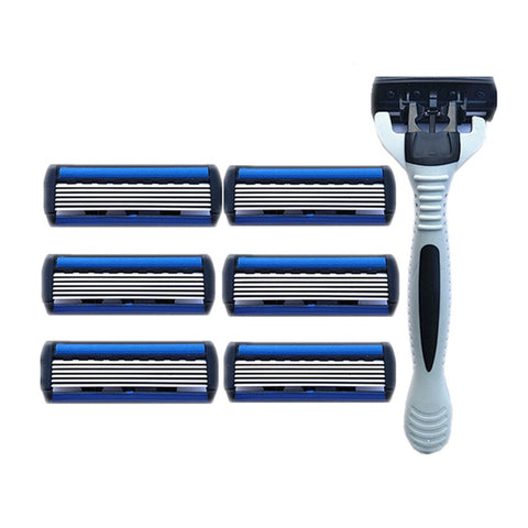 1pcs Razor Handle + 7pcs Hight Quality 6 Layers Blades Safety Razor Blades For Men Face Care Shaving