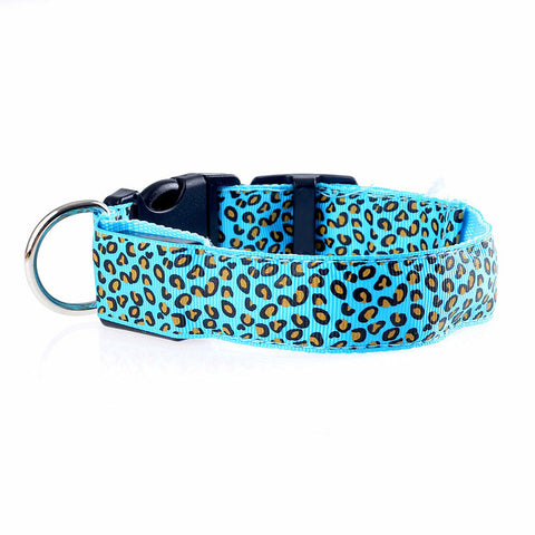 Leopard LED Dog Collar Flashing Nylon 3 Mode Lighting dog leash night Safety dog harness Pet Collars Luminous Pets Accessories