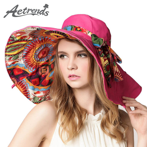 [AETRENDS] 2017 Fashion Design Flower Foldable Brimmed Sun Hat Summer Hats for Women UV Protection Z-2657