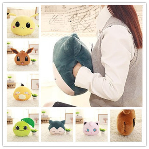 Hot Creative Hand warmer soft pillow Snorlax Psyduck Jigglypuff Eevee Plush Toy for children office Plush Anime Stuffed Doll