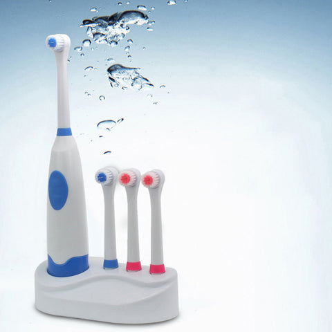 Battery Operated Waterproof Soft Electric Toothbrush with 4 Replace Brush Heads Oral Hygiene Health Care Pro