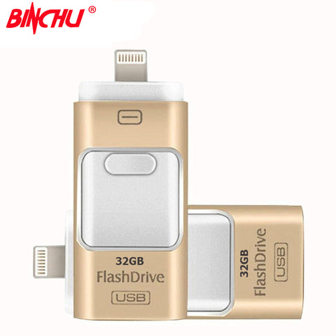 BINCHU For iPhone 7 6 6s Plus 5 5S ipad Pen drive memory stick Dual mobile OTG Micro OTG USB Flash Drive 16GB 32GB 64GB PENDRIVE