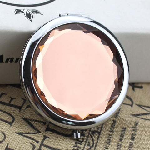 10 ColorsPortable Lady Pocket Crystal Makeup Mirror Round Double Sides Folding Make Up Compact Mirrors