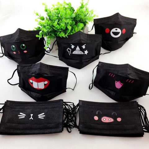 10pcs/Pack Same Pattern Black Disposable Mouth Mask Non Woven Earloop Anti-Dust Flu Cute Catoon Respirator Outdoor Masks Z3