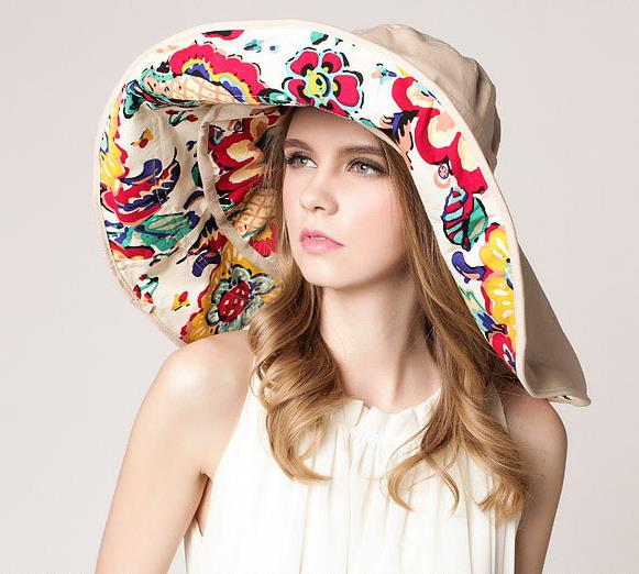 2018 Fashion Design Flower Foldable Brimmed Sun Hat Summer Hats for Women  UV Protection large brim 0d85a3c0754