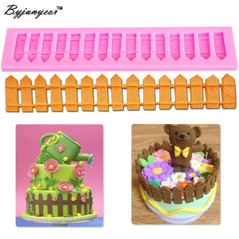 Byjunyeor M112 1pc 3D Picket Fence Silicone Fondant Cake Mold Cake Decorating Tools for Candy Chocolate Cookie Baking Tool