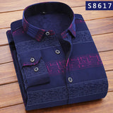 QIHUANG Winter Thicken Men Shirt With Long Sleeve Fashion Striped Shirt Print luxury Brand Casual Dress Shirt For Men