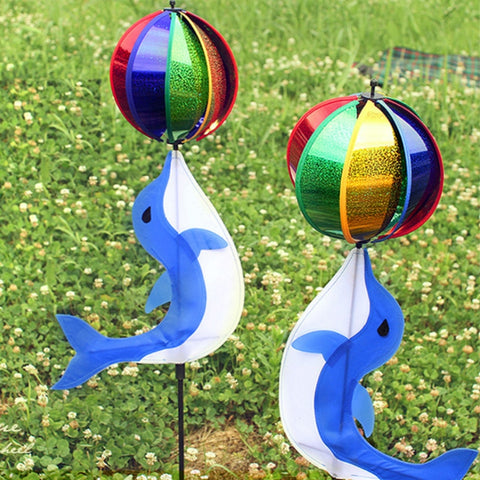 Yard Cute Rainbow Wind Spinner Colorful Windmill Cute Cartoon Animal Winnower Kids Toy Garden Decorative Stakes Wind Spinners