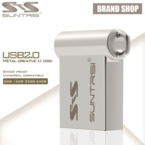 Suntrsi Wholesale USB Flash Drive 10pcs/lot Mini USB Stick Metal Pendrive  High Speed Usb 2.0 Customized Logo Pen Drive