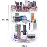 CHOICE FUN Rotating Large Acrylic Cosmetic Organizer Clear Plastic Storage Bath Bathroom Rack Shelf for Makeup