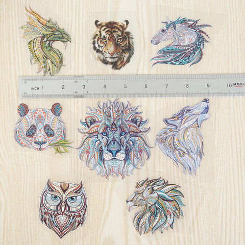 XC 8 Pieces Animal Series Patches for Clothes Stickers Heat Transfer Household Iron-on Patch DIY Decoration Appliqued Parches