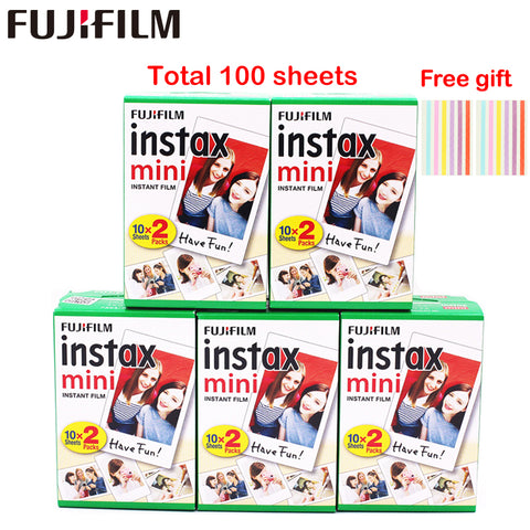 Original 100 Sheets Fujifilm Fuji Instax Mini White Film Instant Photo Paper For Instax Mini 8 9 70 25 Camera SP-1 2 + Free Gift