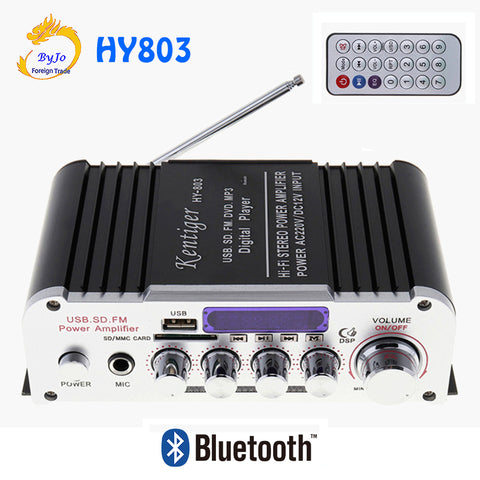 HY803 Mini Amplifier Car Amplifier Bluetooth Amplifier 40W+40W FM MIC MP3 for Car Home USB Support AC 220V or DC 12V