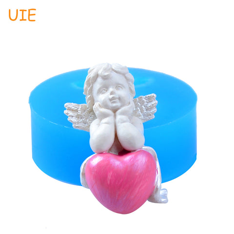 FYL483U 40.2mm 3D Kawaii Angel with Heart Silicone Mold - for Dessert, Fondant, Cake Topper, Resin Clay, Cookie Biscuit, Candy
