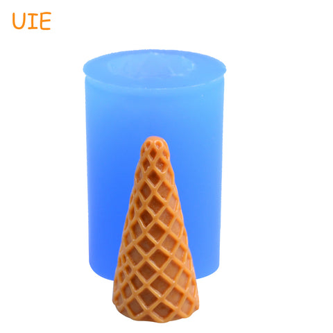 Free Shipping XYL178U 38.5mm 3D Ice Cream Cone Silicone Mold - Fondant, Food Safe, Candy, Polymer Clay, Soap, Chocolate Molds