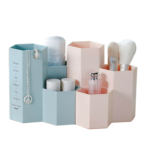 Cosmetics Makeup Brushes Plastic Storage Box Jewelry Case Office Bathroom Storage Organizer Accessories Supplies Stuff Products