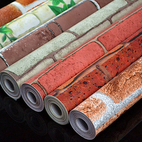 yazi 45CMx10M Fashion Brick Pattern Self Adhesive Wallpaper Vinyl Mural Art Wall Refurbished Sticker Shelf Liner Home Decor
