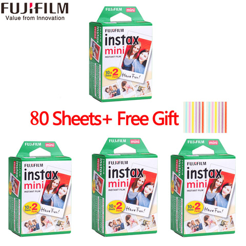 Fujifilm instax mini film 60 80 100 sheets white Edge 3 Inch wide film for Instant Camera mini 8 9 7s 25 50s 90 Photo Paper+Gift