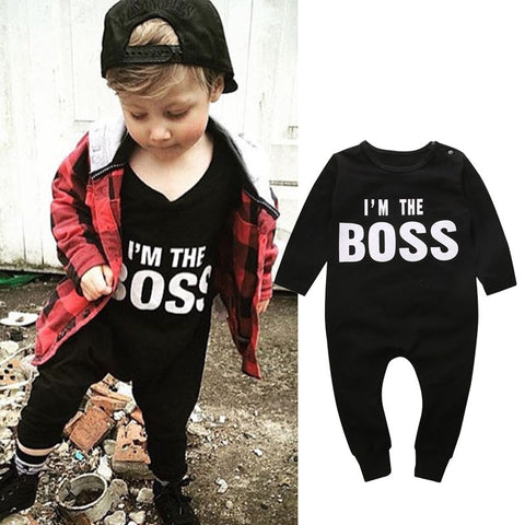 0-24M Newborn Baby Boys Girls Clothes Long Sleeve Cotton Boss Bodysuit Infant Bebes Todder Kids Clothes Playsuit