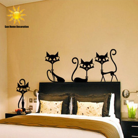 4 Black Fashion Wall Stickers Cat Stickers Living Room Decor Tv Wall Decor Child Bedroom Vinyl Home decor