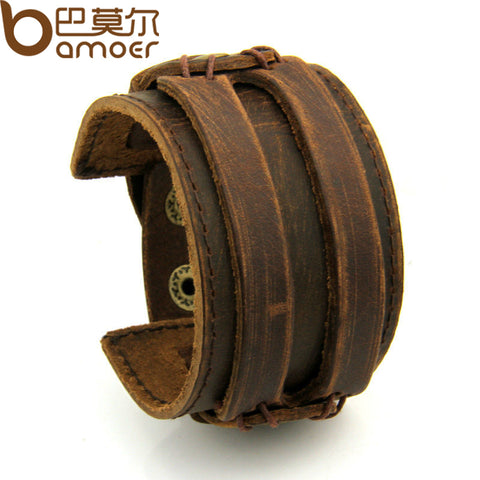 BAMOER Leather Cuff Double Wide Bracelet and Rope Bangles Brown for Men Fashion Man Bracelet Unisex Jewelry PI0296