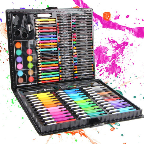 150pcs/set Children Drawing Set Painting Art Set Water Color Pen Crayon Oil Pastel Paint Brush Drawing Tool Art School 1 Set