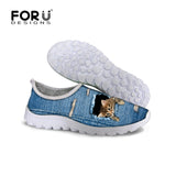 Cute Style Animal Dog Cat Printing Air Mesh Shoes for Women Ladies Casual Denim Shoes Female Girls Casual Breathable Shoes