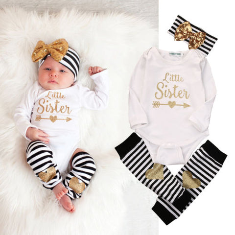 0-18M Newborn Baby Girls Clothes Little Sister Long Sleeve Bodysuit Romper Striped Leg Warmer Bow Hairband 3pcs Kids Clothing