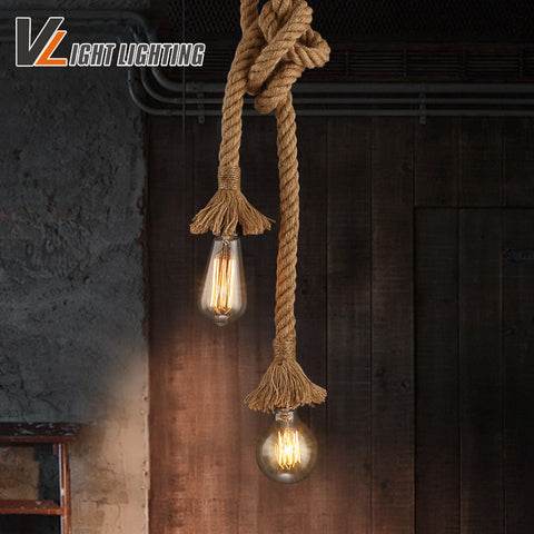 Vintage Rope Pendant Lights Loft Creative Industrial Lamp E27 Edison Bulb American Style For restaurant/bar home decoration