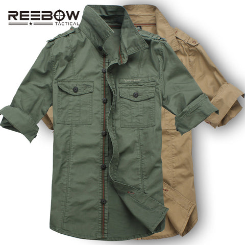 REEBOW TACTICAL Men Autumn Military Outdoor Hiking Shirts Long Sleeve Army Sports Cotton Breathable Shirt 2016 New Tooling Loose