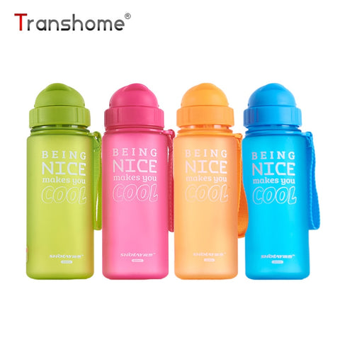 Transhome Water Bottle With Straw 400ml Kids Bottles Plastic Drinking Bottles for Children Sports School Water Bottles BPA Free