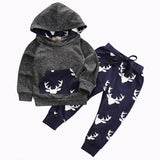 0-24M Newborn Baby Boys Girls Clothes Deer Hooded Top Pant 2pcs Infant Bebek Kids Clothing Set