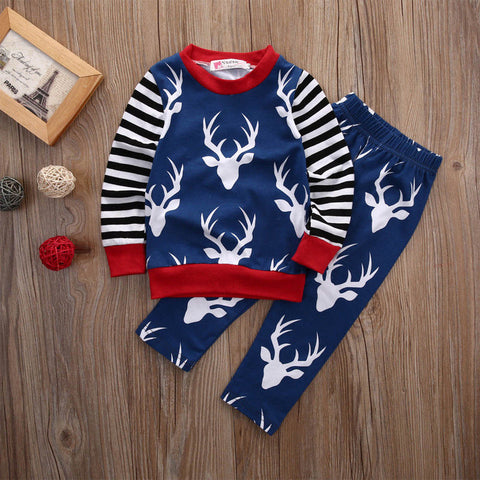 Newborn Kids Baby Boy Girl Clothes Set XMAS Clothing Long Sleeve Tops Long Pants 2PCS Outfits Set Baby Boys Clothes