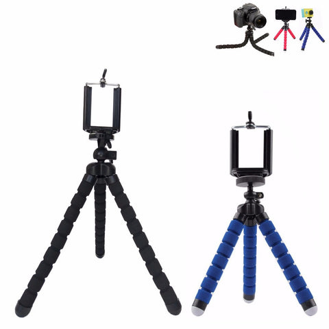 Mini portable sponge flexible tripods small/large size octopus tripods for camera or gopro xiaoyi and SJ 3000 4000 +phone holder